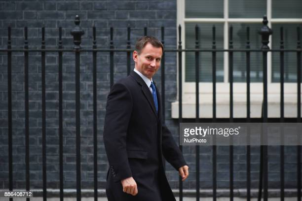 British Secretary of State for Health Jeremy Hunt leaves 10 Downing Street following the weekly Cabinet Meeting London on December 5 2017