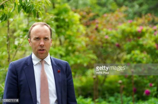 British Secretary of State for Health, Matt Hancock speaks at a memorial tree planting ceremony at Oxford Botanic Gardens following a G7 health...