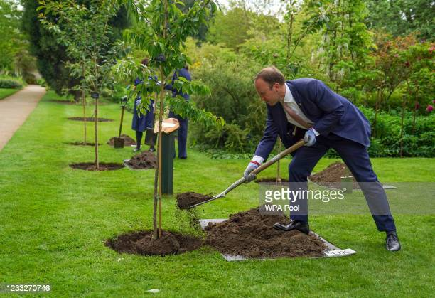 British Secretary of State for Health, Matt Hancock with G7 health ministers take part in a memorial tree planting ceremony at Oxford Botanic Gardens...
