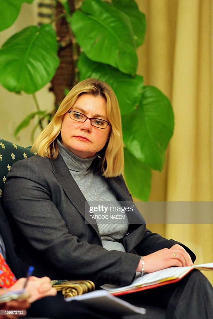 British Secretary of State for International Development Justine Greening waits for Pakistani Prime Minister Raja Pervez Ashraf upon her arrival for a meeting in Islamabad on January 22, 2013. Greening arrived in Islamabad to meet Pakistani leaders of mutual interest. AFP PHOTO/Farooq NAEEM