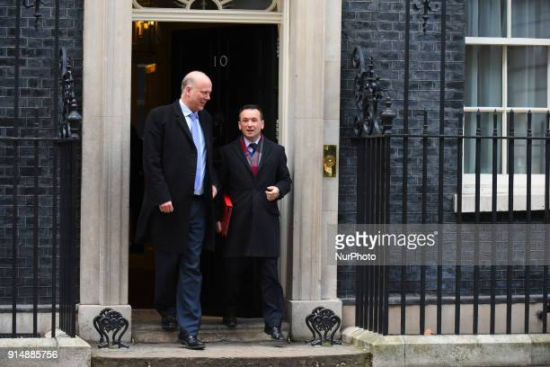 British Secretary of State for Transport Chris Grayling and Secretary of State for Wales Alun Cairns leave 10 Downing street after the weekly cabinet...