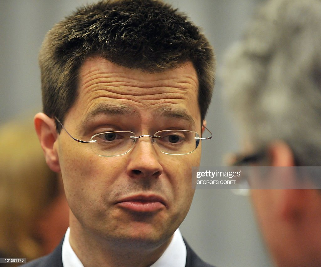 British secretary of State Home Affairs James Brokenshire arrives prior to a Justice and Home Affairs council meeting on June 3, 2010 at the EU Council building in Luxembourg.