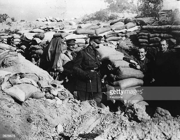 British secretary of war Lord Horatio Herbert Kitchener visits the trenches at Gallipoli in Turkey