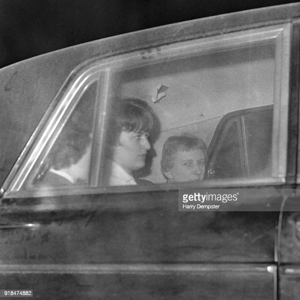 British serial killer Myra Hindley sits in the the back of a car while in transit from Risley to HM Prison Holloway London UK 31st January 1968