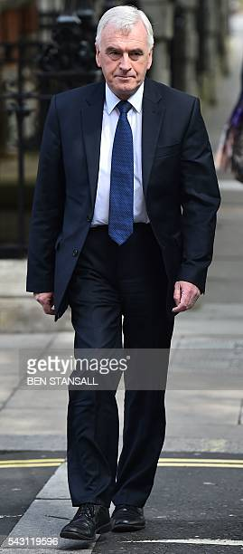 British Shadow Chancellor of the Exchequer John McDonnell arrives at Millbank television and radio studios in central London on June 26 2016 The...