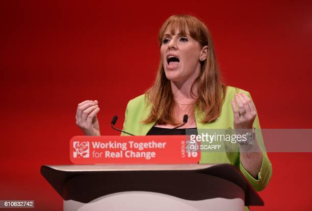 British Shadow Education Secretary Angela Rayner speaks on the third day of annual Labour Party conference in Liverpool north west England on...