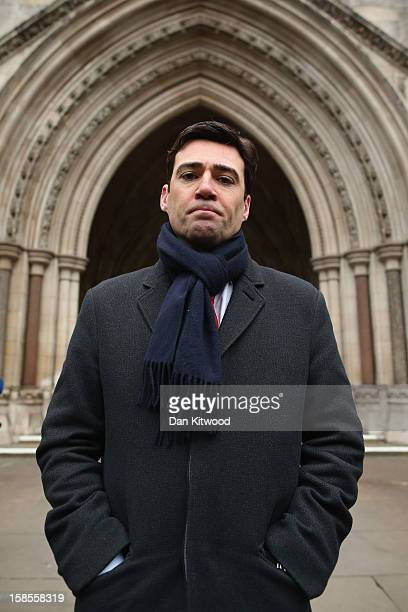 British Shadow Health Secretary and Labour Party member Andy Burnham stands outside the High Court on December 19 2012 in London England An...