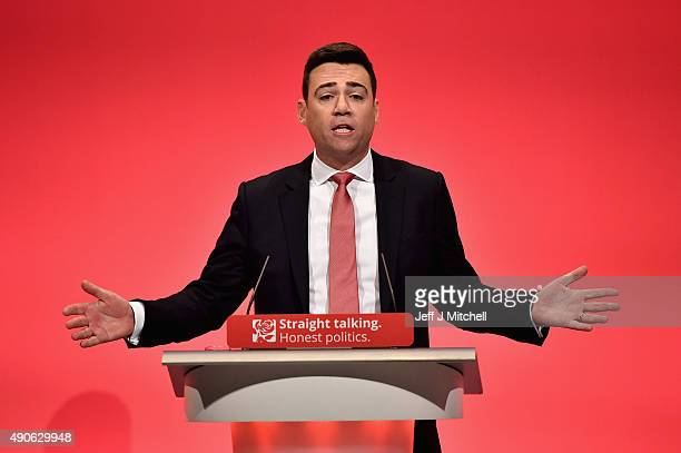 British Shadow Home Secretary Andy Burnham speaks to delegates during the final day of the Labour Party Autumn Conference on September 30 2015 in...