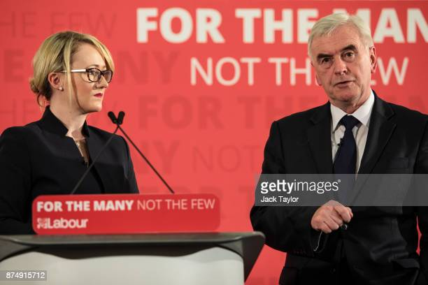 British Shadow Secretary of State for Business Energy and Industrial Strategy Rebecca LongBailey looks on as Shadow Chancellor John McDonnell gives a...