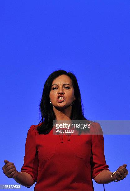 British Shadow Secretary of State for Energy and Climate Change Caroline Flint speaks on the second day of the annual Labour Party Conference in...