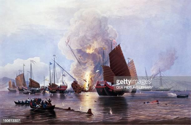 British ships destroying an enemy fleet in Canton 1841 First Opium War China 19th century