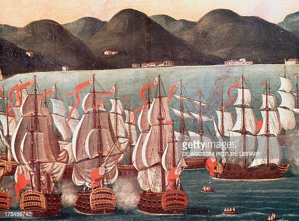 British ships in the bay of Rio de Janeiro by Leandro Joaquin oil painting Brazil 18th century Detail Rio De Janeiro Museu Histórico Nacional