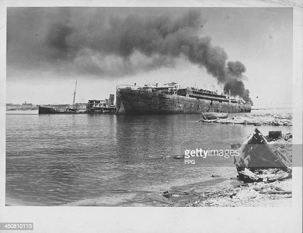British ships off the coast of North Africa following the fall of Tobruk during World War Two Libya 1942