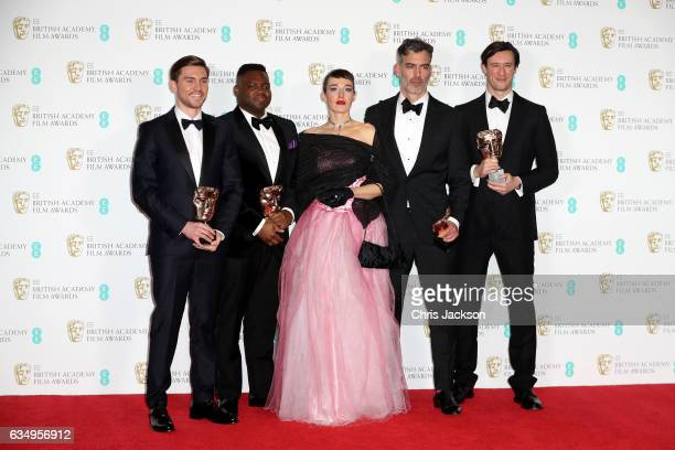 British Short Film Award winners Shpat Deda Afolabi Kuti Arta Dobroshi Daniel Mulloy and Scott ODonnell pose in the winners room during the 70th EE...