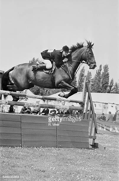 British show jumper Ann Moore jumping a fence on 'Hopalong Cassidy' at a cattle show in Leicester 1967