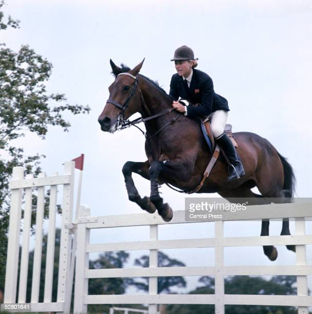 British show jumper Marion Coakes competing with 'Little Fellow' in the Wills Woodbine Stakes at Hickstead, East Sussex, July 1969.