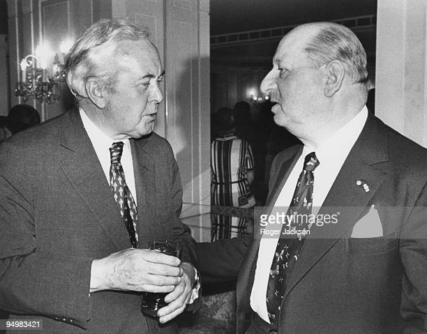 British showbusiness impresario Sir Lew Grade chatting to former Prime Minister Harold Wilson at the Pye Colour Television Awards at the Dorchester...