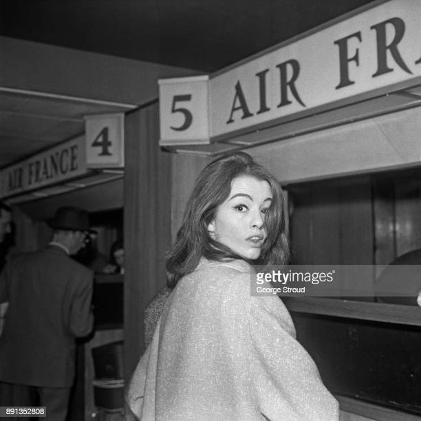 British showgirl and fashion model known for her role in the Profumo Affair Christine Keeler at Heathrow Airport London UK 20th May 1963