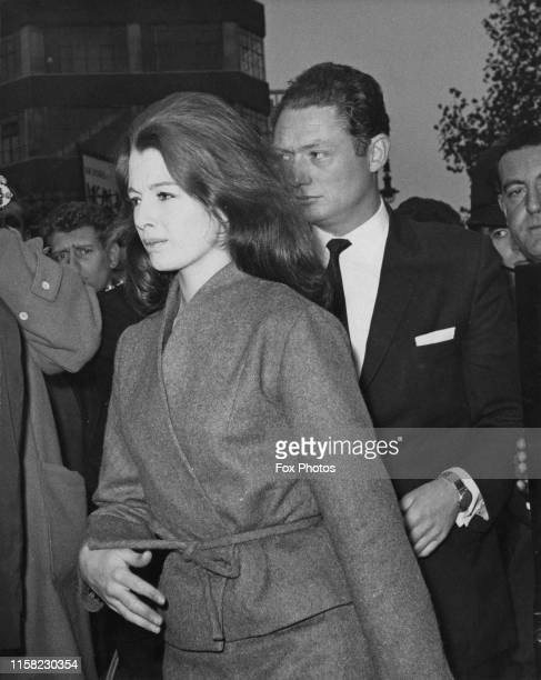 British showgirl and model Christine Keeler on her way to a court hearing over charges of perjury and conspiring to obstruct the course of justice...
