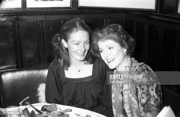 British sibling actresses Vanessa Redgrave and Lynn Redgrave sit together Gallagher's Steak House during the premiere party for the Broadway...