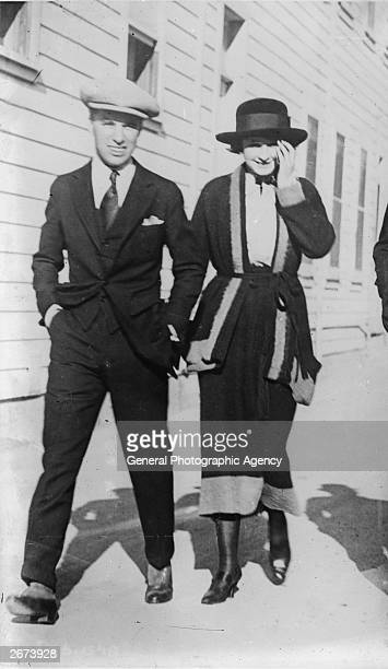 British silent comic Charlie Chaplin with actress Pearl White star of numerous adventure films between 1910 and 1920