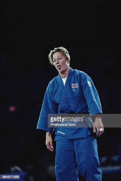 British silver medal winning judoka Kate Howey pictured looking dejected after losing to gold medal winning Cuban judoka Sibelis Veranes in the final...