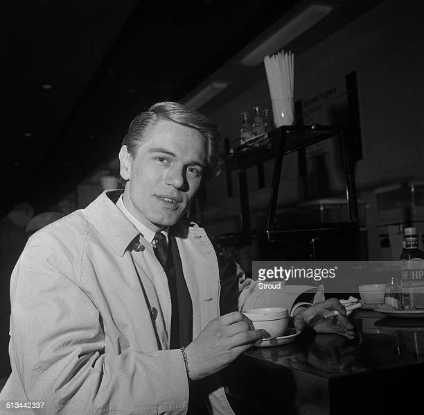 British singer actor and financial journalist Adam Faith before departing for South Africa 23rd December 1964