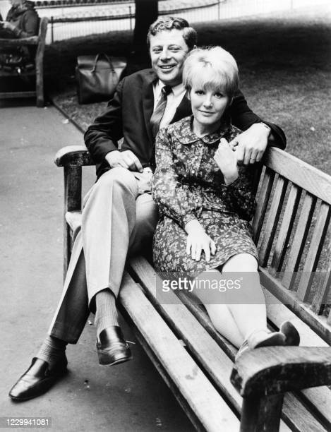 British singer, actress and composer Petula Clark poses with her husband Claude Wolff, the publicist of of Vogue Records in June 1966.
