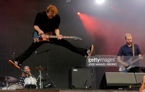 British singer Alex Kapranos of Scottish rock band Franz Ferdinand performs at the 12th Alive Festival in Oeiras near Lisbon on July 14 2018