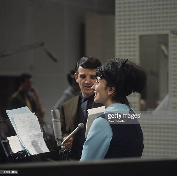 British singer Alma Cogan in a recording studio circa 1964