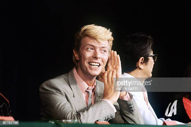 British singer and actor David Bowie gives a press conference presenting the Japanese movie 'Merry Christmas Mr Lawrence' directed by Nagisa Oshima...