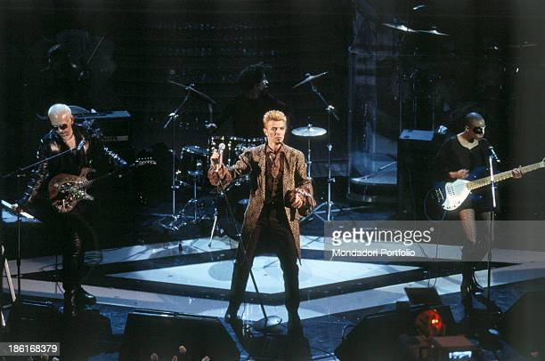 British singer and actor David Bowie performing at the 47th Sanremo Music Festival. Sanremo, February 1997.