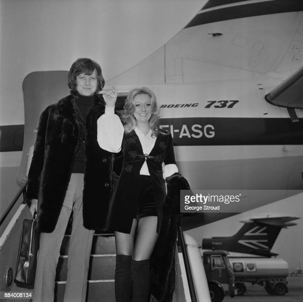 British singer and actress Clodagh Rodgers with her husband and manager John Morris arriving from Dublin after taking part in the Eurovision Contest...