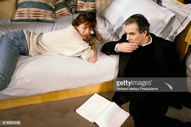 British singer and actress Jane Birkin and French actor Pierre Arditi in the play L'Aide Mémoire written by JeanClaude Carrière and stage directed by...