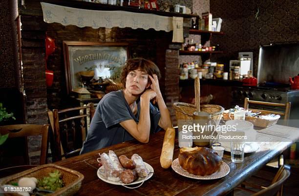 British singer and actress Jane Birkin in her kitchen
