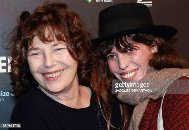 British singer and actress Jane Birkin poses with her daughter French singer and actress Lou Doillon as they arrive at the Cinematheque Francaise for...