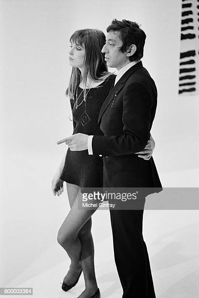 British singer and actress Jane Birkin with her partner singer and songwriter Serge Gainsbourg on the set of a TV show