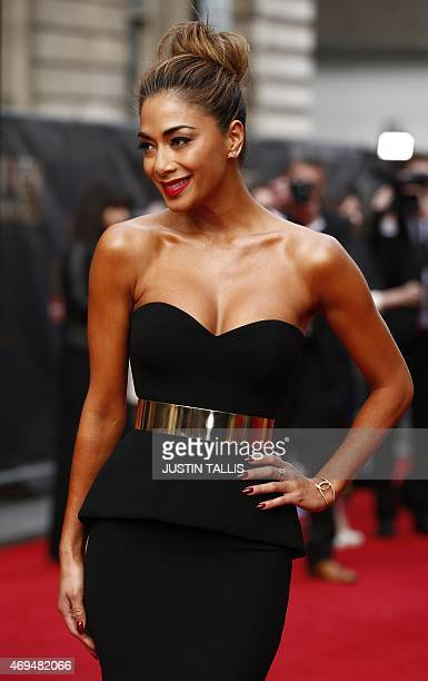 British singer and actress Nicole Scherzinger arrives on the red carpet for the Lawrence Olivier Awards for theatre at the Royal Opera House in...