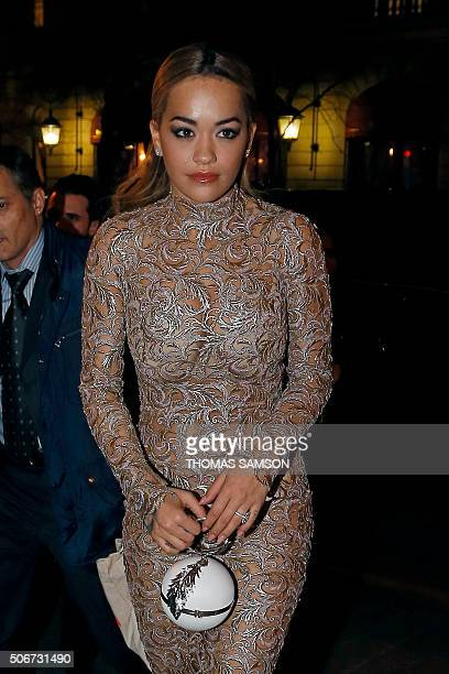 British singer and actress Rita Ora arrives to attend a VIP dinner organised by fashion houses Ralph Russo and Choppard on January 25 2016 in Paris...