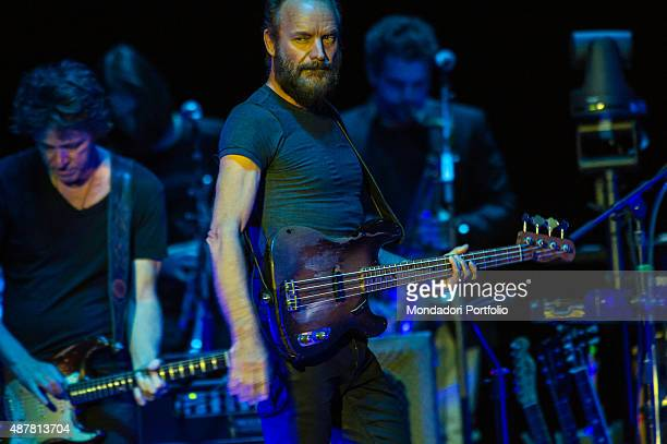 British singer and bassist Sting on stage with two musicians during his concert at Mediolanum Forum Milan 30th March2015