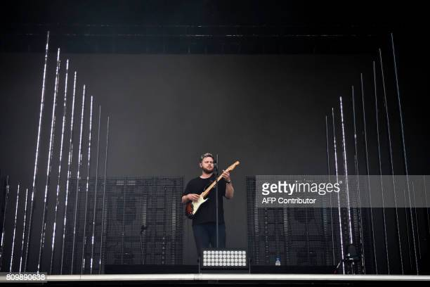 British Singer and guitarist Joe Newman from the British band AltJ performs during a concert at the 11th Alive Festival in Oeiras near Lisbon on July...