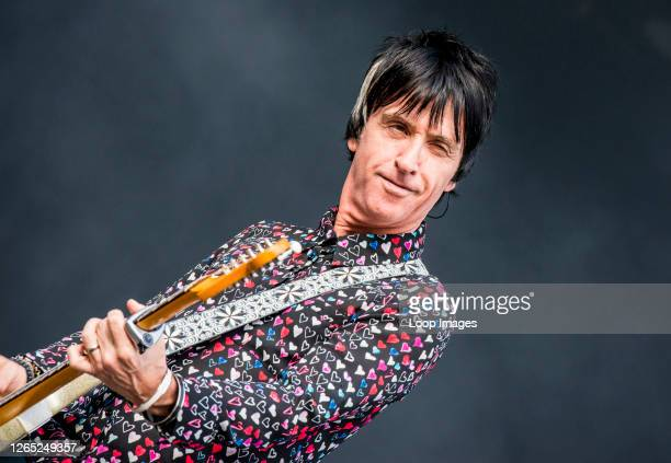 British singer and guitarist Johnny Marr performing live at the All Points East music festival at Victoria Park in East London.