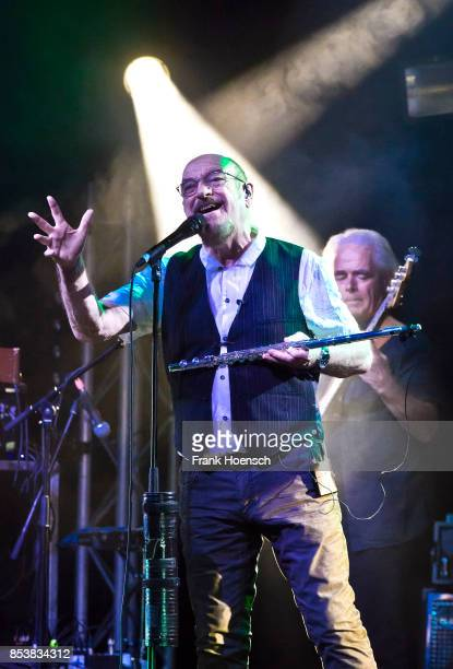 British singer and musician Ian Anderson of Jethro Tull performs live on stage during a concert at the Admiralspalast on September 25 2017 in Berlin...
