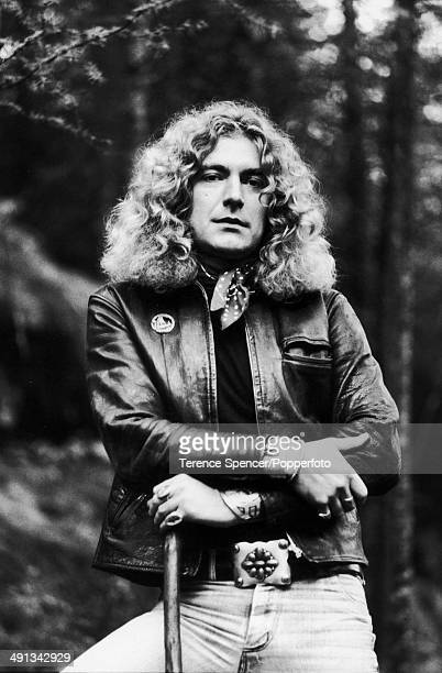 British singer and musician Robert Plant of rock group Led Zeppelin, posed in woods by his home near Machynlleth, Wales on 15th October 1976.
