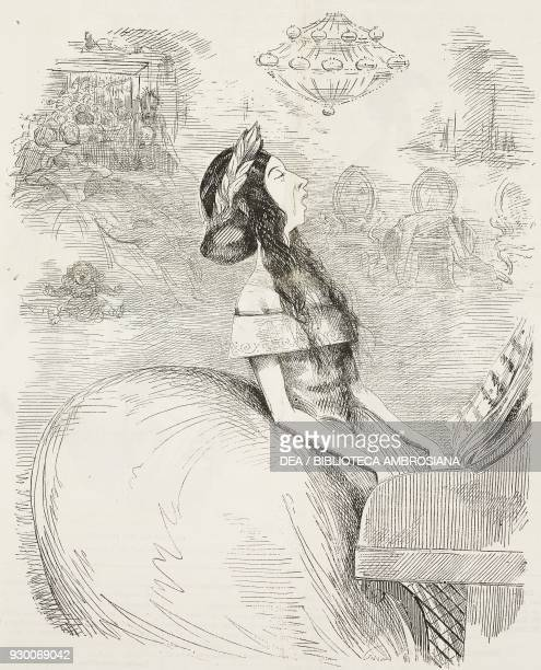 British singer and pianist in a lounge of the Faubourg SaintHonore the English in Paris illustration by Watts Philips from the Journal pour rire...