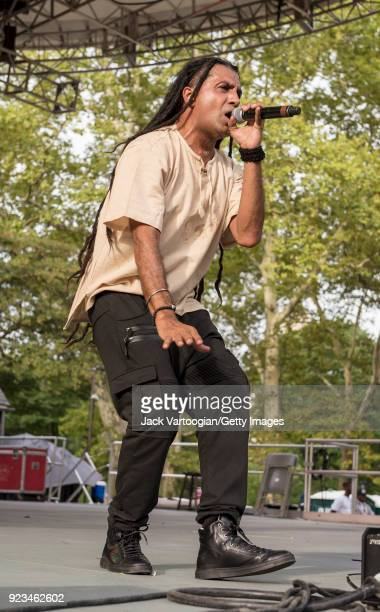 British singer and reggae DJ Apache Indian performs at Central Park SummerStage during the Basement Bhangra 20th Anniversary celebration New York New...