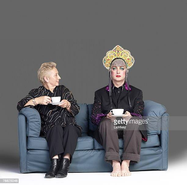 British singer and songwriter and club DJ Boy George, formerly with Culture Club, photographed with his mother Dinah O'Dowd, in the Studio, 25th...