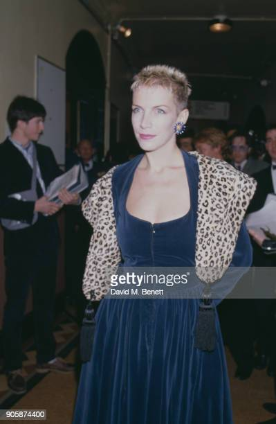 British singer and songwriter Annie Lennox of music duo Eurythmics at the 1989 Brit Awards Royal Albert Hall London UK 13th February 1989