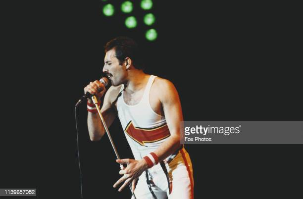 British singer and songwriter Freddie Mercury of rock band Queen performs at Leeds Football Club, England, 29th May 1982.