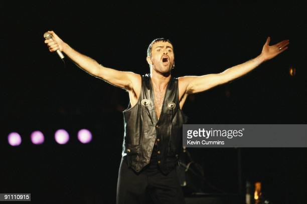 British singer and songwriter George Michael performing on stage at Rock In Rio January 1991